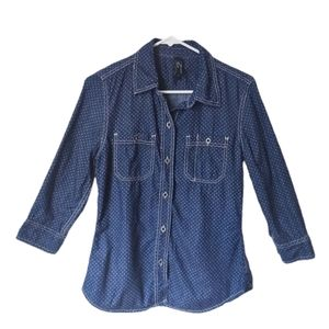 Seven7 Contrast Stitch Chambray Button Down Top